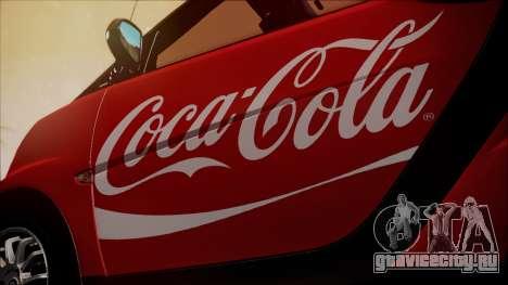 Smart ForTwo Coca-Cola Worker для GTA San Andreas вид сзади