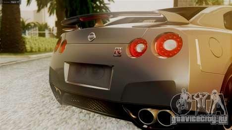 Nissan GT-R R35 для GTA San Andreas вид изнутри