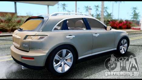 Infiniti FX45 для GTA San Andreas вид сзади слева