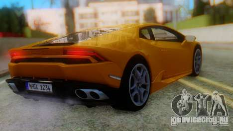 Lamborghini Huracan 2015 Horizon Wheels для GTA San Andreas вид слева