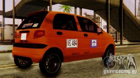 Daewoo Matiz Taxi для GTA San Andreas вид сзади слева