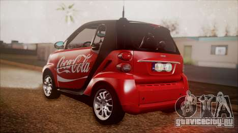 Smart ForTwo Coca-Cola Worker для GTA San Andreas вид слева