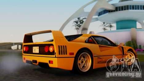 Ferrari F40 1987 without Up Lights для GTA San Andreas вид сзади слева