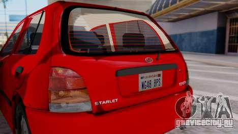 Toyota Starlet 5P 1.3L 1998 для GTA San Andreas вид сзади