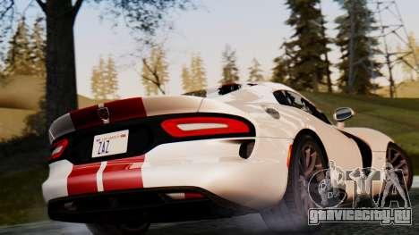 Dodge Viper SRT GTS 2013 IVF (MQ PJ) HQ Dirt для GTA San Andreas вид сзади