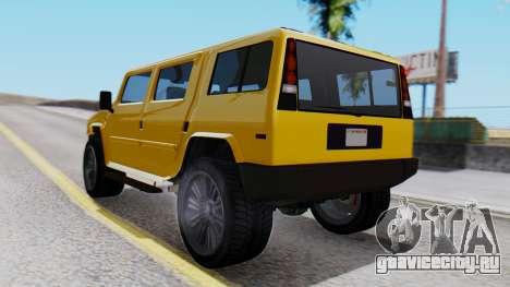 GTA 5 Patriot для GTA San Andreas вид слева
