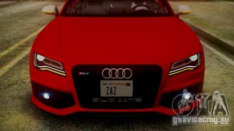 Audi RS7 2014 для GTA San Andreas вид снизу