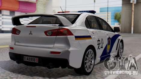 Mitsubishi Lancer Evo X Chinese Police для GTA San Andreas вид слева