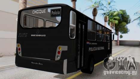 Mercedes-Benz Neobus Paraguay National Police для GTA San Andreas вид слева