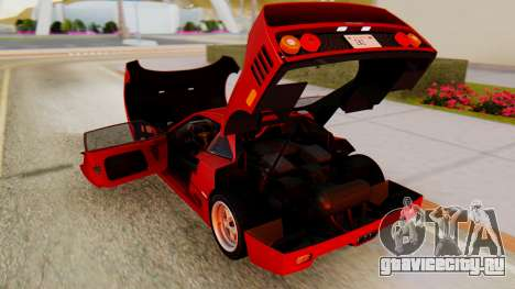 Ferrari F40 1987 with Up Lights для GTA San Andreas вид изнутри