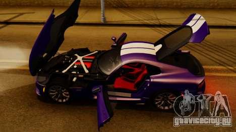 Dodge Viper SRT GTS 2013 IVF (HQ PJ) HQ Dirt для GTA San Andreas вид изнутри