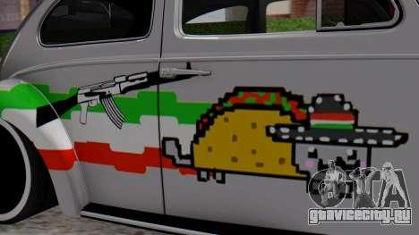 Volkswagen Beetle Vocho Nyan Cat V Mexicano для GTA San Andreas вид сзади слева