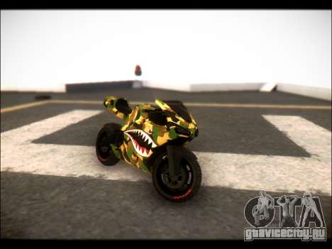 Bati Motorcycle Camo Shark Mouth Edition для GTA San Andreas вид сзади слева