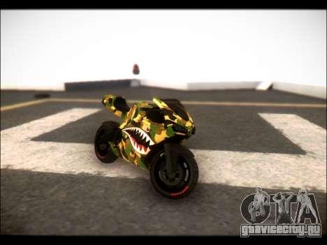 Bati Motorcycle Camo Shark Mouth Edition для GTA San Andreas вид сзади слева