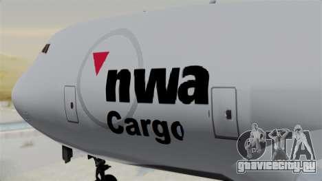 Boeing 747 Northwest Cargo для GTA San Andreas вид сзади