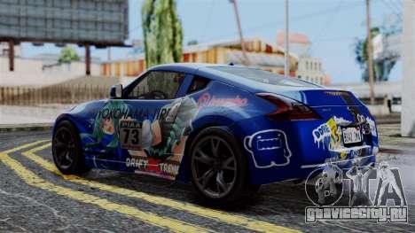 Nissan 370Z Tunable Miku Paintjob для GTA San Andreas вид сзади слева