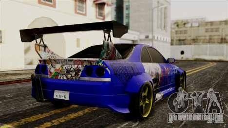 Nissan Skyline R33 Widebody Itasha для GTA San Andreas вид слева