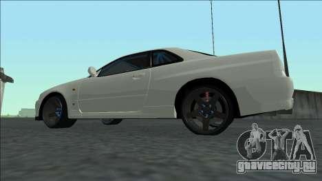 Nissan Skyline R34 Drift для GTA San Andreas вид изнутри