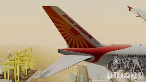 Airbus A380-861 Air India для GTA San Andreas вид сзади слева