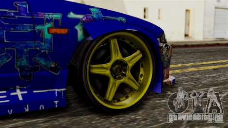 Nissan Skyline R33 Widebody Itasha для GTA San Andreas вид сзади слева