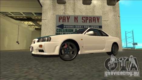 Nissan Skyline R34 Drift для GTA San Andreas вид сзади слева