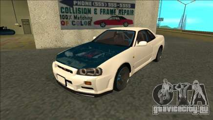 Nissan Skyline R34 Drift белый для GTA San Andreas