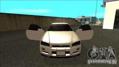Nissan Skyline R34 Drift JDM для GTA San Andreas вид изнутри