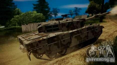 GTA 5 Rhino Tank для GTA San Andreas вид сзади слева