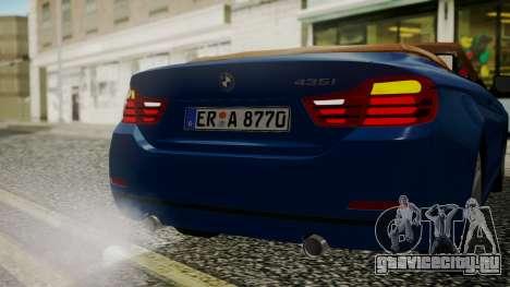 BMW M4 F32 Convertible 2014 для GTA San Andreas вид сверху