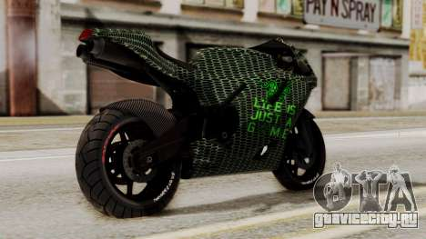 Bati Motorcycle Razer Gaming Edition для GTA San Andreas вид слева