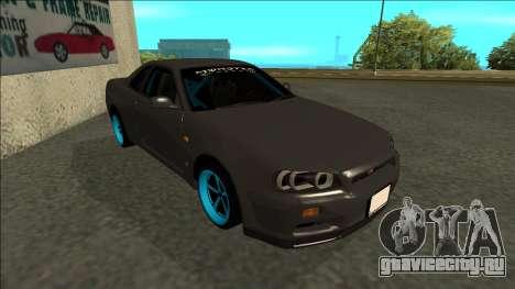 Nissan Skyline R34 Drift Monster Energy для GTA San Andreas вид слева