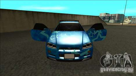 Nissan Skyline R34 Drift Blue Star для GTA San Andreas вид изнутри