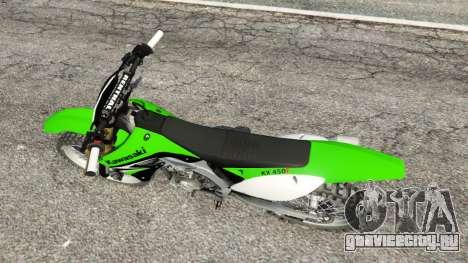 Kawasaki KX450F для GTA 5 вид сзади
