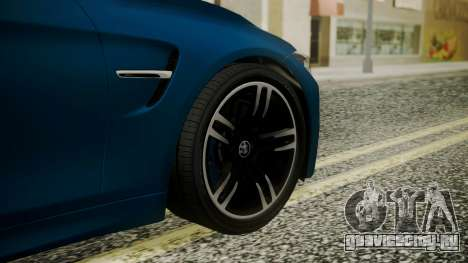 BMW M4 Coupe 2015 Brushed Aluminium для GTA San Andreas вид сзади слева
