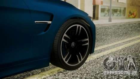 BMW M4 Coupe 2015 Brushed Aluminium для GTA San Andreas вид сзади слева