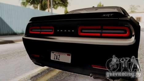 Dodge Challenger SRT Hellcat 2015 IVF для GTA San Andreas вид сзади