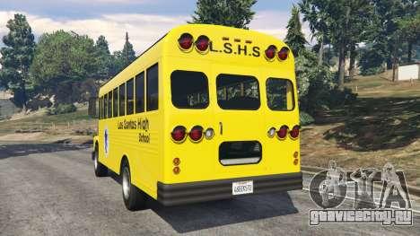 Классический школьный автобус для GTA 5 вид сзади слева