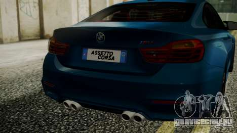 BMW M4 Coupe 2015 Brushed Aluminium для GTA San Andreas вид сзади