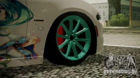 Dodge Charger RT 2015 Hatsune Miku для GTA San Andreas вид сзади слева
