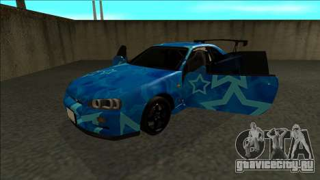 Nissan Skyline R34 Drift Blue Star для GTA San Andreas вид сзади