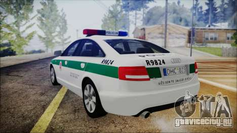 Audi A6 C6 Lithuanian Police для GTA San Andreas вид слева