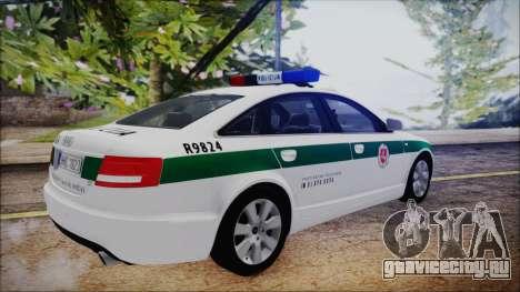 Audi A6 C6 Lithuanian Police для GTA San Andreas вид сзади слева