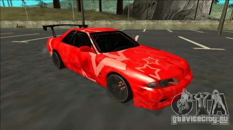Nissan Skyline R32 Drift Red Star для GTA San Andreas вид сзади слева
