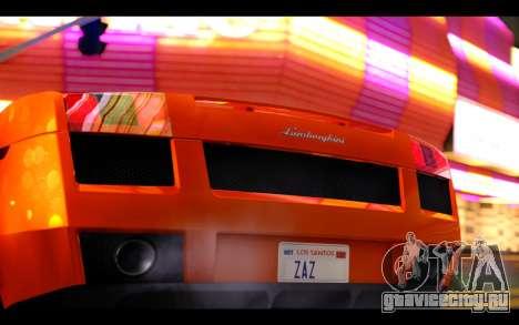 Lamborghini Gallardo для GTA San Andreas вид изнутри