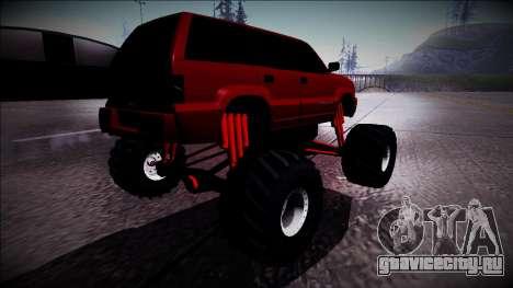 GTA 4 Cavalcade Monster Truck для GTA San Andreas вид сзади слева