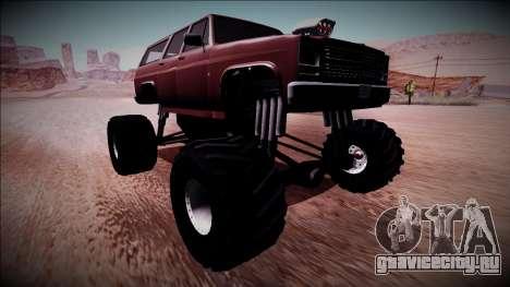 Rancher XL Monster Truck для GTA San Andreas вид сзади слева