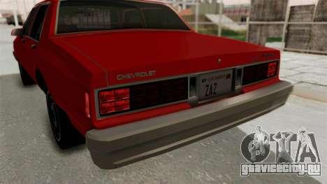 Chevrolet Caprice Classic 1986 v2.0 для GTA San Andreas вид снизу