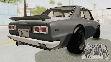 Nissan Skyline KPGC10 1971 для GTA San Andreas вид сзади слева