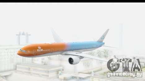 Boeing 777-300ER KLM Orange Pride для GTA San Andreas вид сзади слева