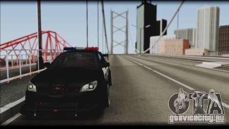 Subaru Impreza WRX STi Police Drift для GTA San Andreas вид сзади слева